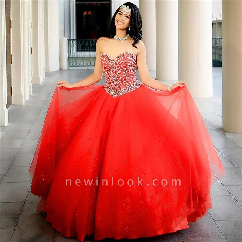Fascinating Watermelon Red Sweetheart Ball Gown Quinceanera Dresses | Beadings 15 Dresses Long