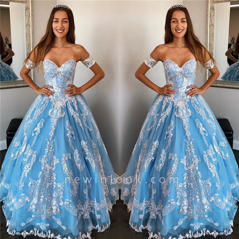 Exquisite Off-the-shoulder Beadings Ball Gown Sweet 16 Dresses | Appliques Quinceanera Dresses Long