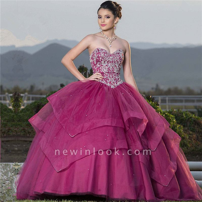 Attractive Sweetheart Beadings Sleeveless Sweet 16 Dresses | Tiered Ball Gown Quince Dresses Long