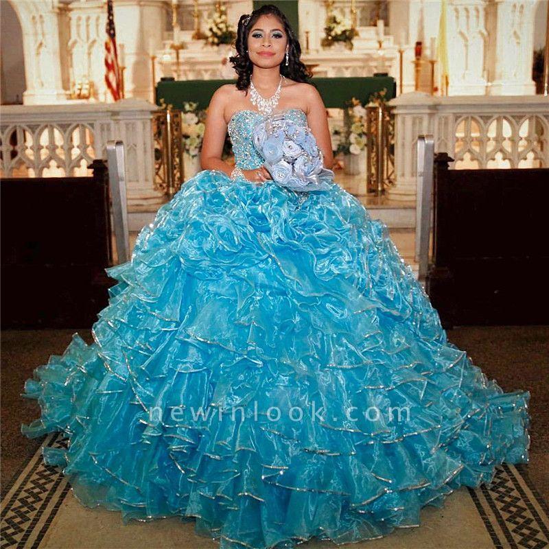 Excelente vestido de bola bordado cariño vestidos de membrillo | Ruffles XV Vestidos largos