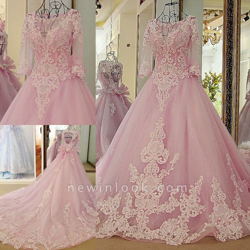Stylish Appliques Long-Sleeves Quinceanera Dress