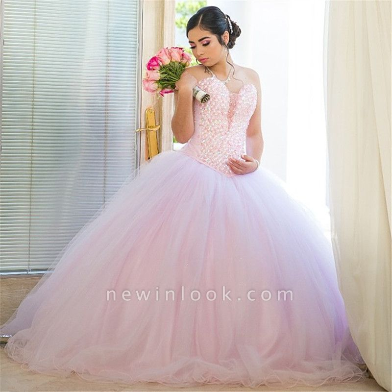 Excellent Sweetheart Beadings Ball Gown Quince Dresses | Sleeveless XV Dresses Long