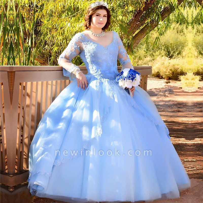 Marvelous Blue V-neck Appliques Ball Gown Sweet 16 Dresses | Illusion Long-Sleeves Quinceanera Dresses Long