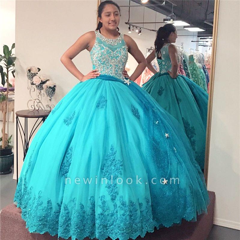 Exquisita joya listones vestido de bola dulce 16 vestidos | Apliques con cordones de quinceañera vestidos largos