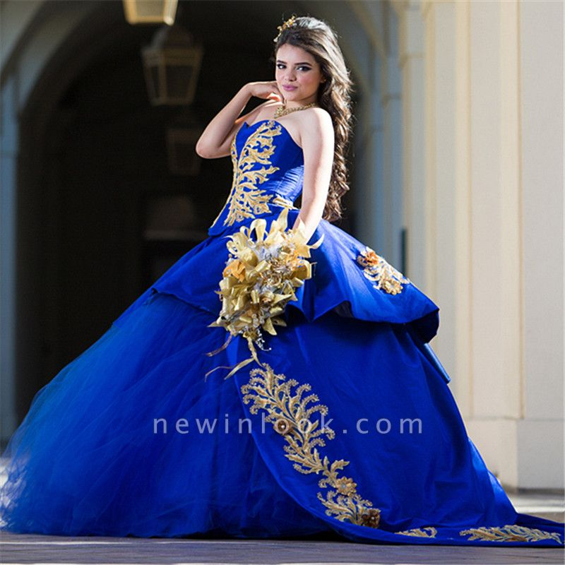 Charming Royal Blue Sweetheart Ball Gown Embroidery Quince Dresses | Sweep Train 16 Dresses Long