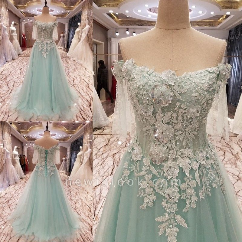 Elegant Lace-up Appliqued Tulle Floor Length Quinceanera Dresses