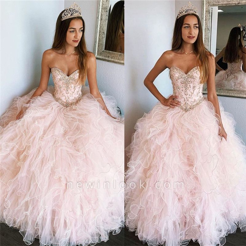 Beautiful Sweetheart Beadings Ball Gown Quinceanera Dresses | Ruffles 16 Dresses Long