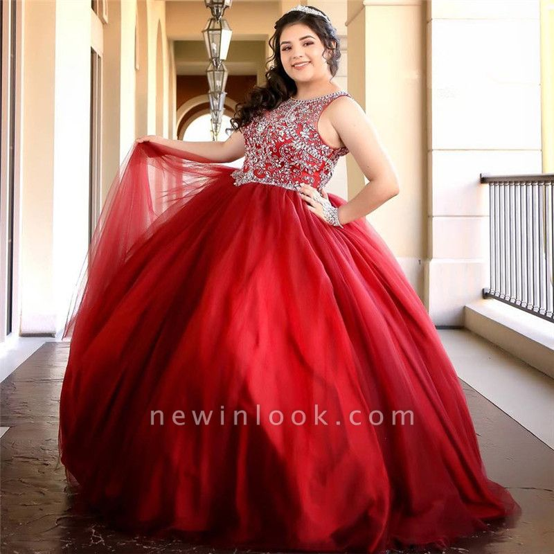Fabulous Red Jewel Beadings Ball Gown XV Dresses | Sleeveless Quinceanera Dresses Long