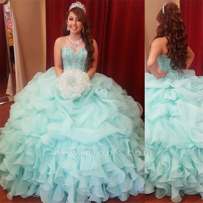Beautiful Sweetheart Sleeveless Ball Gown Quinceanera Dresses | Beadings Ruffles 16 Dresses Long