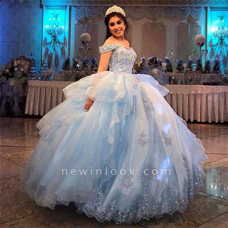 Exquisito fuera del hombro Beadings vestido de bola dulce 16 vestidos | Con cuello en V volantes quinceañera vestidos largos