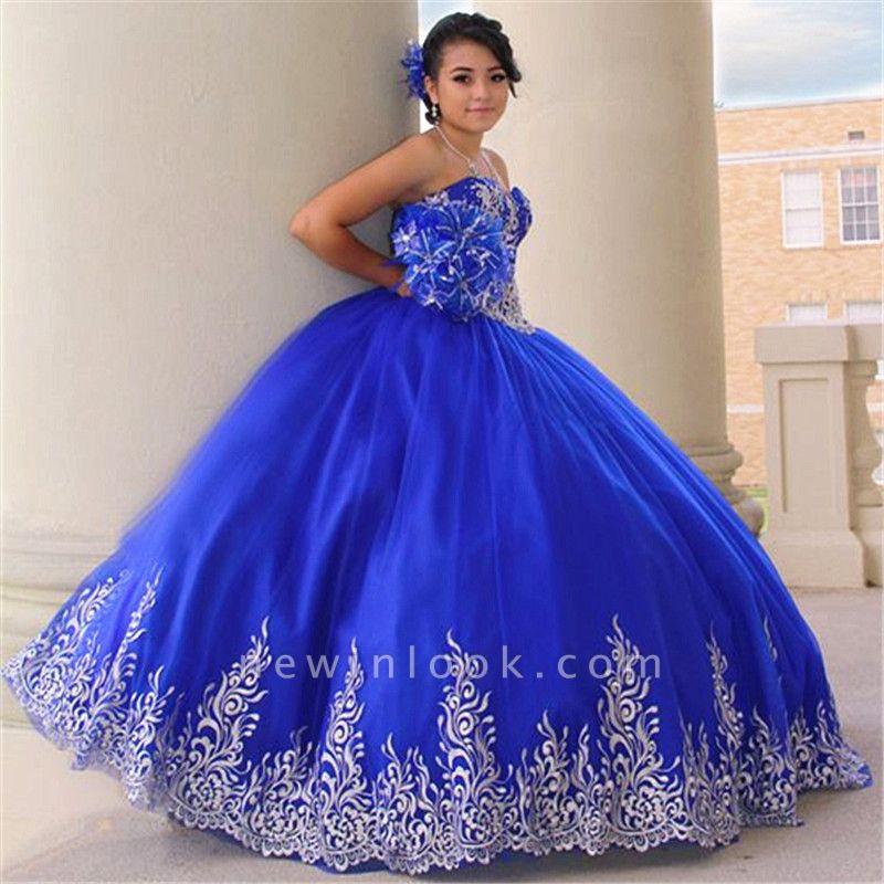 Atractivos apliques de color azul real sin mangas Vestidos | vestidos de membrillo largo