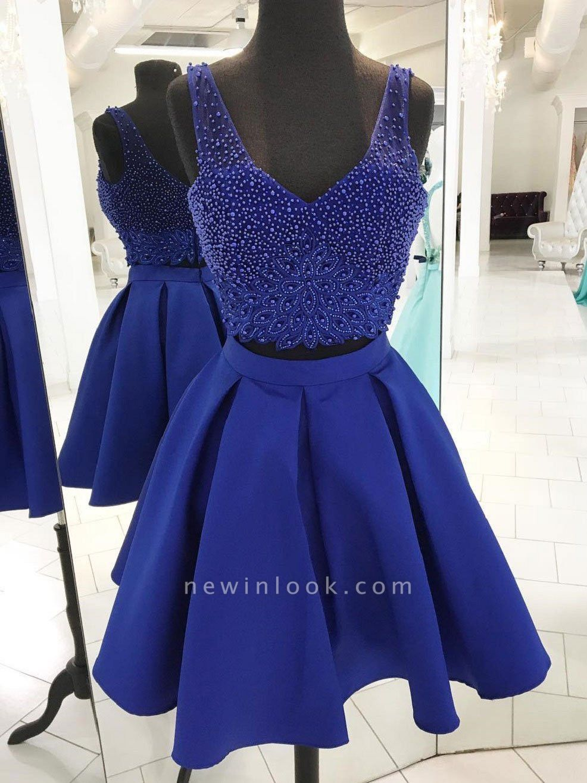 Two-Pieces Straps Beading Sleeveless Dama Dress