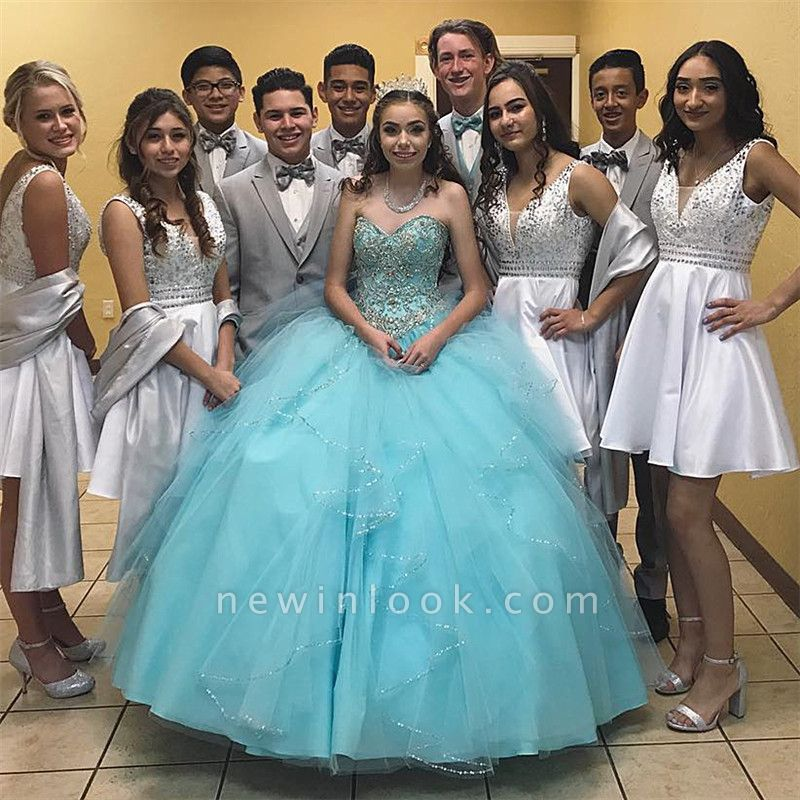 Exquisite Pool Blue Sweetheart Ball Gown Quinceanera Dresses | Beadings Sweet 16 Dresses Long