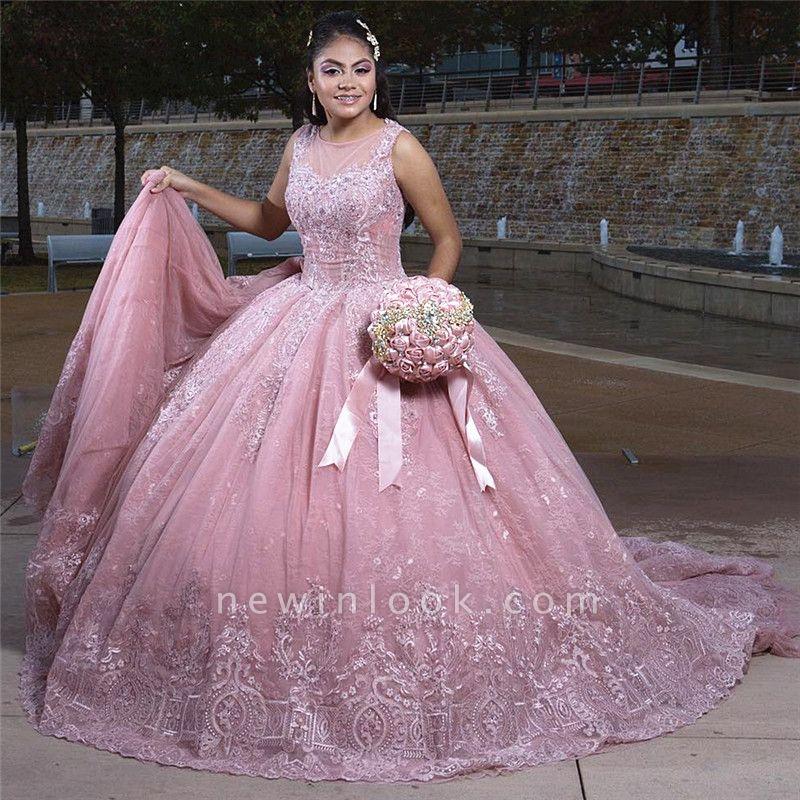Apliques de vestido de bola joya con encanto vestidos de membrillo | Encaje tren barrido 16 vestidos
