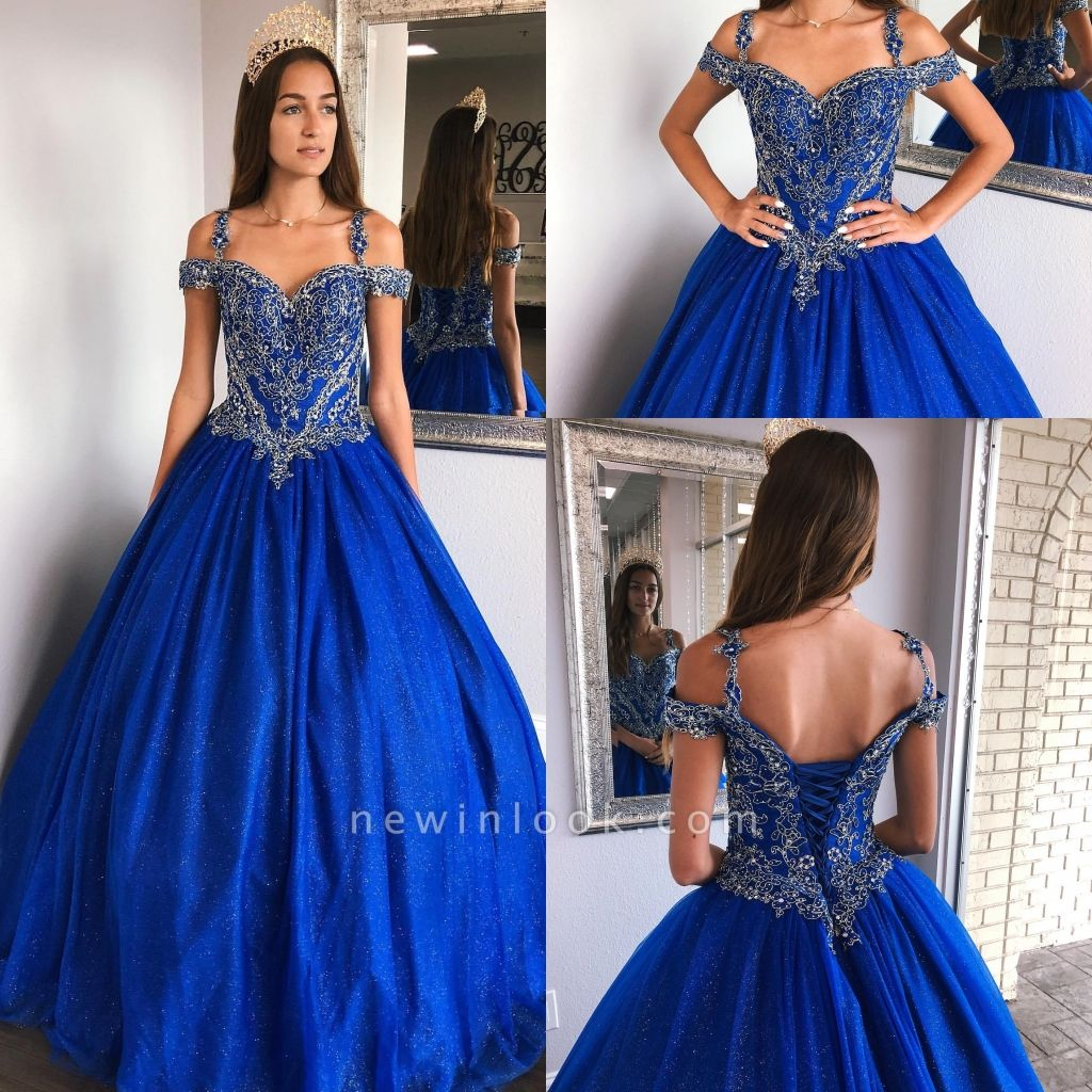 Fascinating Royal Blue Spaghetti Straps Appliques Ball Gown Quinceanera Dresses | Lace-up 15 Dresses Long