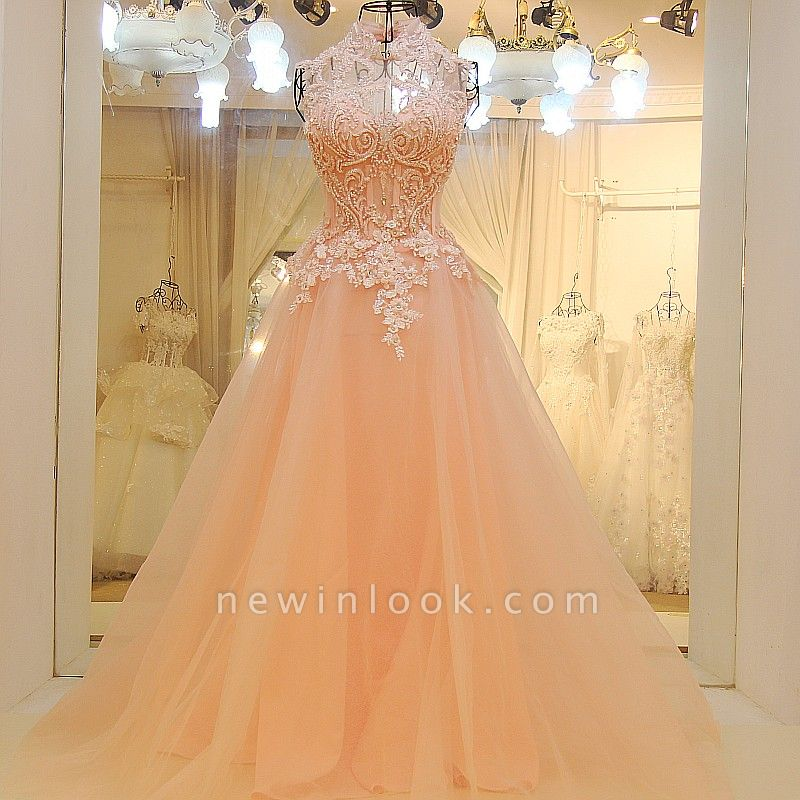 Elegant High Neck Appliqued Tulle Long Quinceanera Dresses
