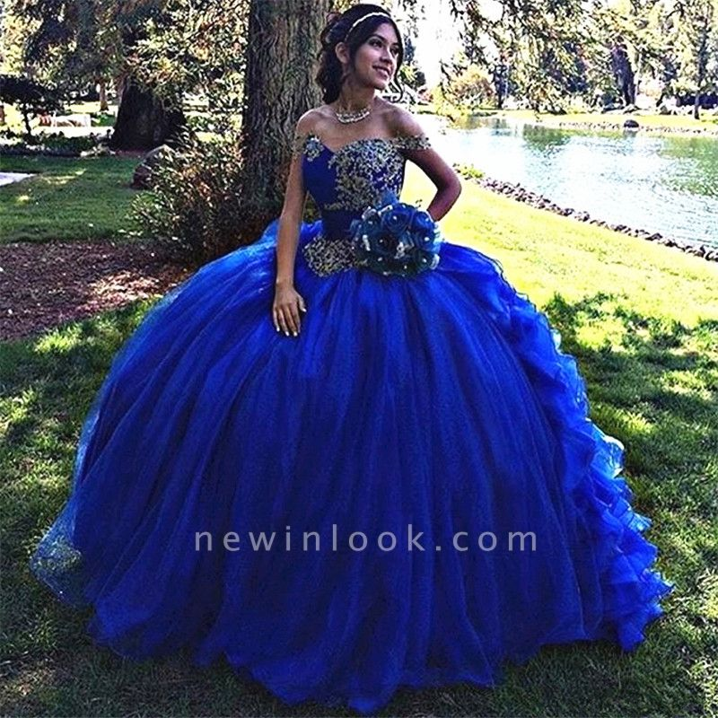Delicate Royal Blue Off-the-shoulder Embroidery Sweet 16 Dresses | Ball Gown Quince Dresses Long
