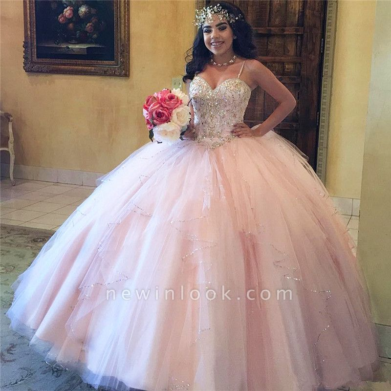 Fascinating Pink Spaghetti Straps Ball Gown Quinceanera Dresses | Beadings 15 Dresses Long