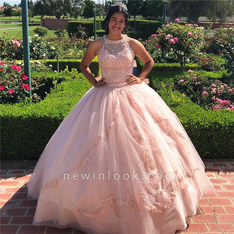 Excellent Jewel Appliques Ball Gown Quince Dresses | Beadings XV Dresses Long