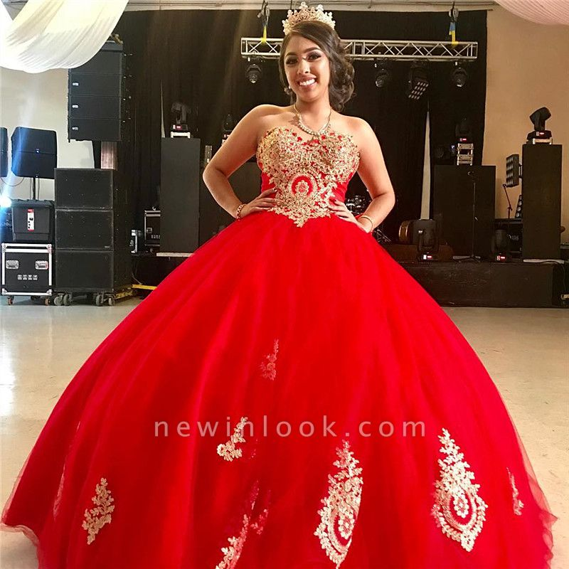 Beautiful Bright Red Sweetheart Lace-up Appliques Ball Gown Quinceanera Dresses | Big Bowknot 16 Dresses Long