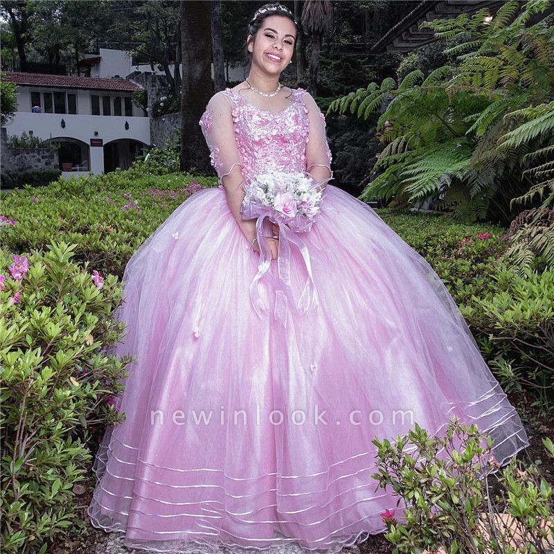 Gorgeous V-neck Flowers Quinceanera Dresses | Illusion Long Sleeves Ball Gown XV Dresses