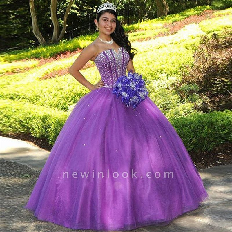 Charming Purple Strapless Ball Gown Quince Dresses | Beadings 16 Dresses Long