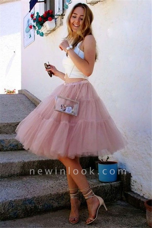 Simple Two-Pieces Tulle Sleeveless Dama Dress