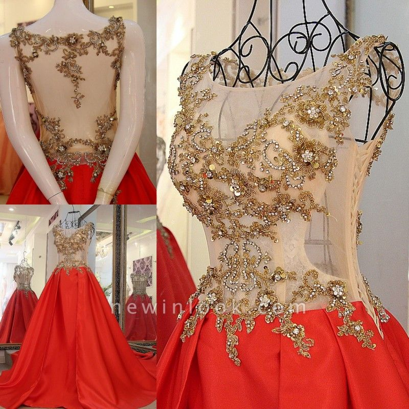 Sequins Beading Sleeveless Red Long Quinceanera Dresses