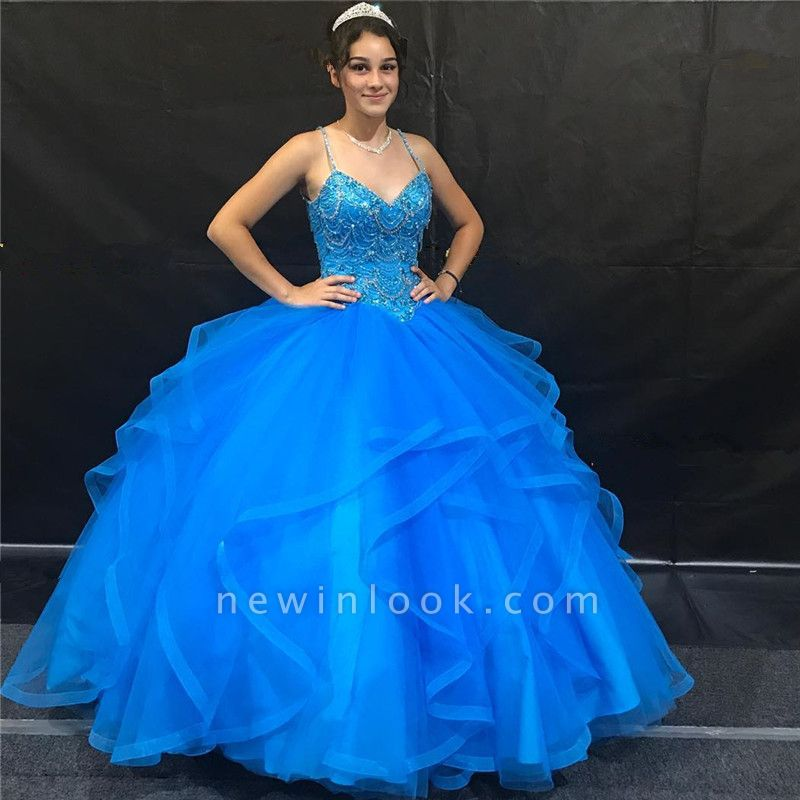 Beautiful Royal Blue Spaghetti Straps Sleeveless Ball Gown Quinceanera Dresses | Beadings Ruffles 16 Dresses Long