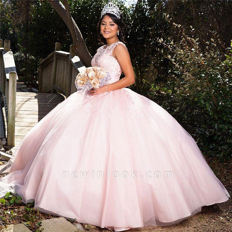 Preciosa joya rosa sin mangas apliques vestidos de quincea_era | Vestido de fiesta xv vestidos