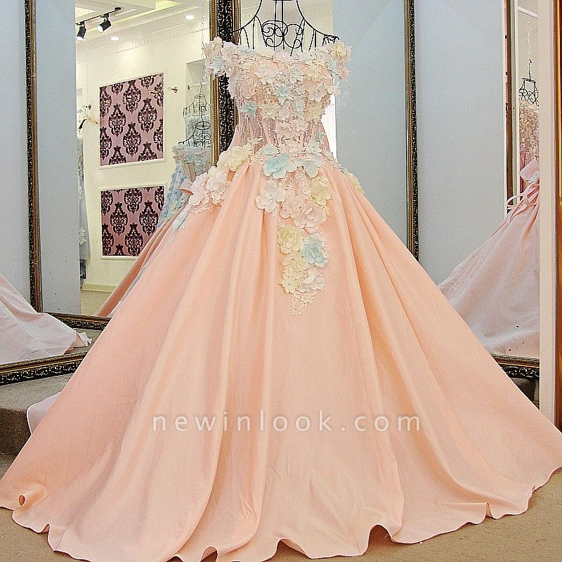 3-D Flowers Sleeveless Ball-gown Ribbon Knot Quinceanera Dresses
