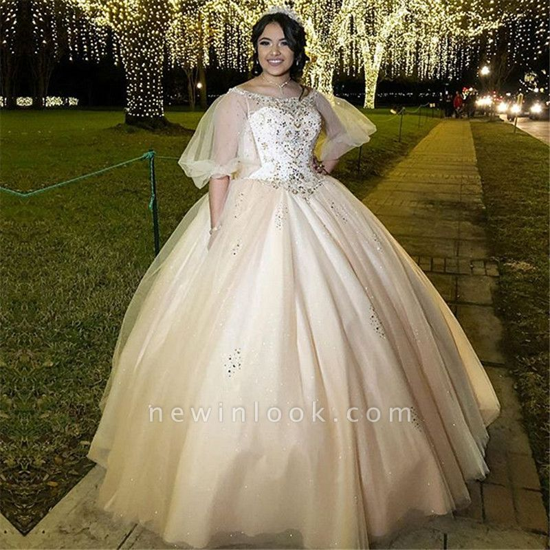 Exquisite Bateau Beadings Ball Gown Quinceanera Dresses | Illusion Half-Sleeves Sweet 16 Dresses Long