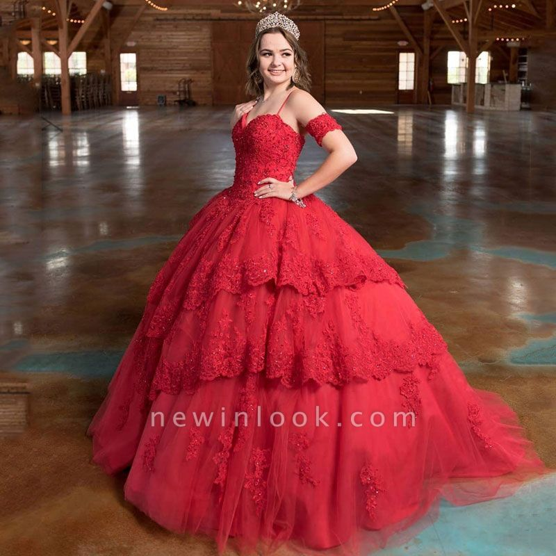 Attractive Red Spaghetti Straps Appliques Sleeveless Sweet 16 Dresses | Tiered Ball Gown Quince Dresses Long