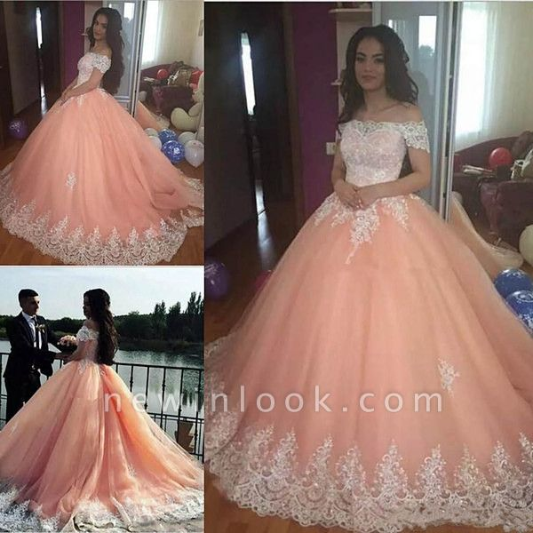Fabulous Off-the-shoulder Lace Ball Gown XV Dresses | Appliques Quinceanera Dresses Long