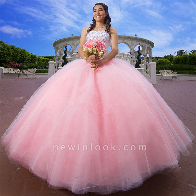 Excellent Pink Sweetheart Beadings Ball Gown Quince Dresses | Excellent XV Dresses Long