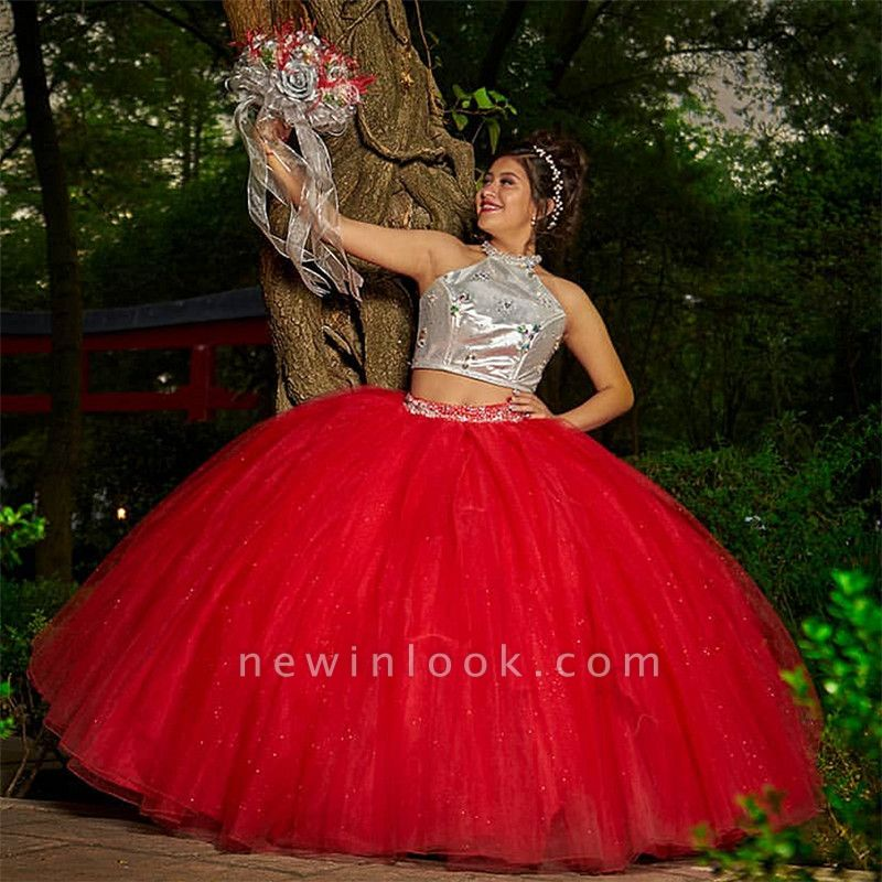 Fabulous Two Pieces Jewel Ball Gown XV Dresses | Beadings Quinceanera Dresses Long