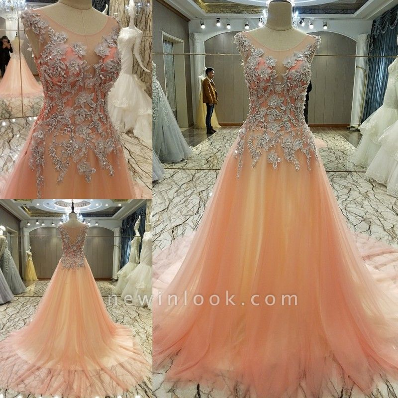Pink Sleeveless Appliques Tulle Brush Train Quinceanera Dresses