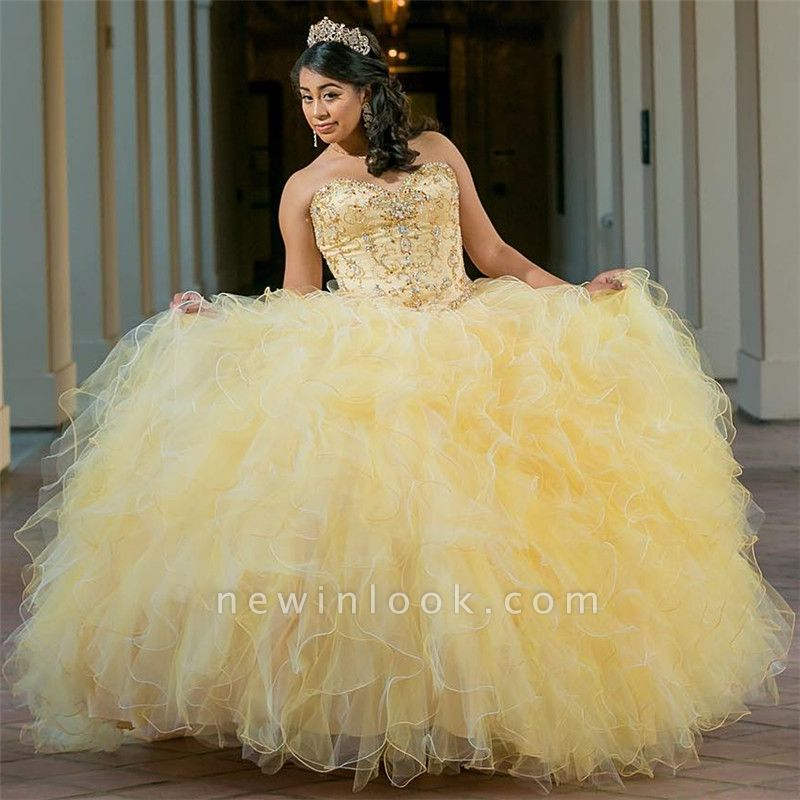 Excellent Yellow Sweetheart ruffles Ball Gown Quince Dresses | Shining Beadings XV Dresses Long