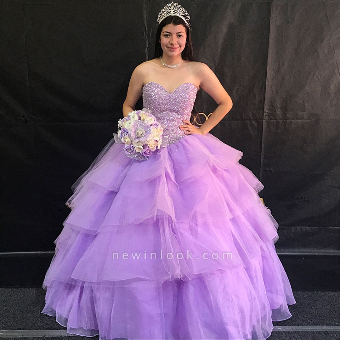 Attractive Purple Sweetheart Beadings Sleeveless Sweet 16 Dresses | Tiered A-line Quince Dresses Long