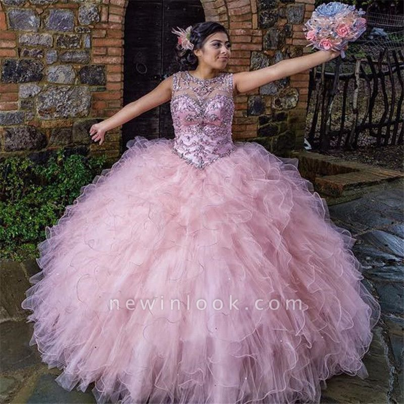 Fabulous Jewel Ruffles Beadings Ball Gown XV Dresses | Floor Length Quinceanera Dresses