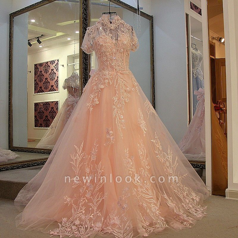 A-line High Neck Tulle Appliques Short Sleeves Quinceanera Dresses