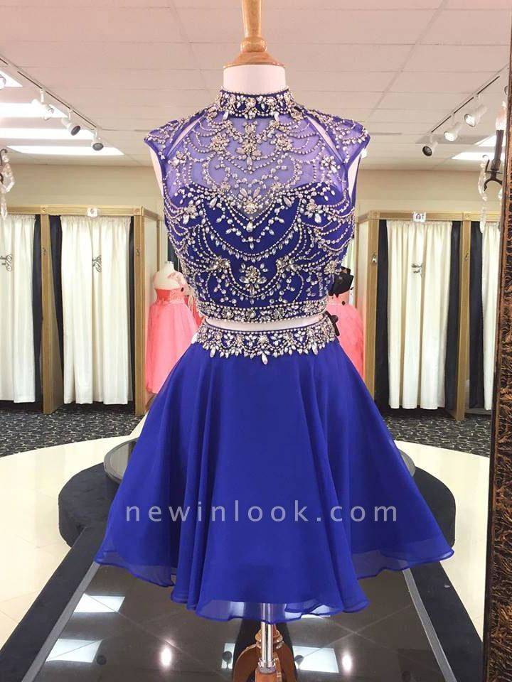 Illusion Two-Pieces High Neck Beading Dama Dress