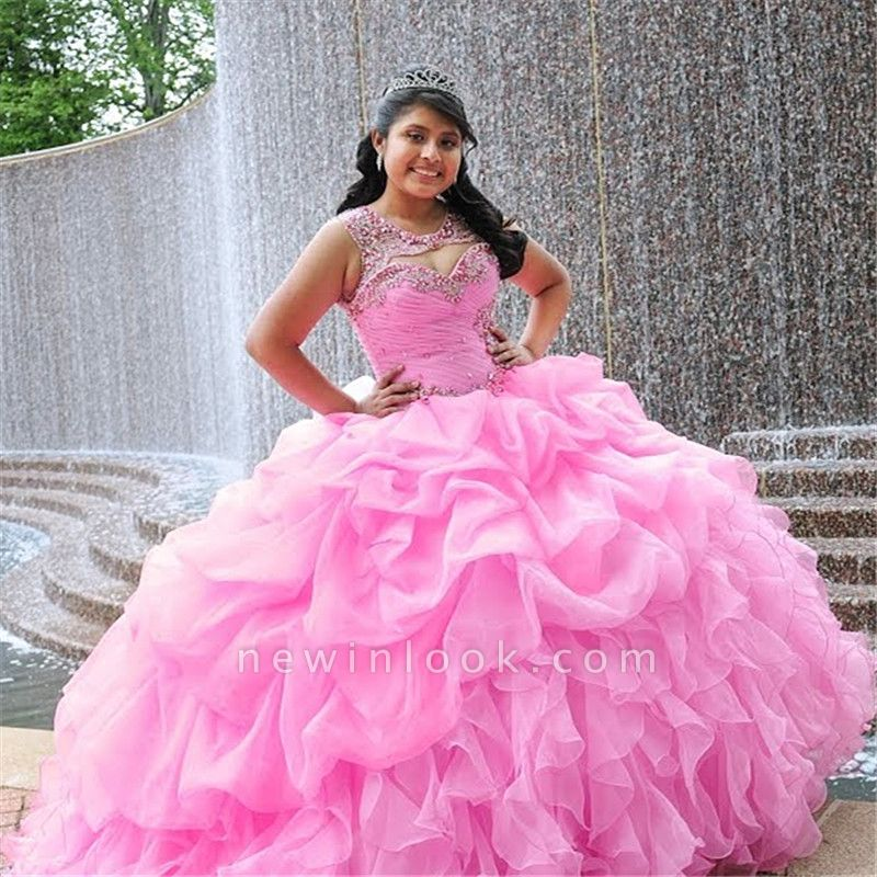 Attractive Pink Jewel Beadings Sleeveless Sweet 16 Dresses | Ruffles Ball Gown Quince Dresses Long