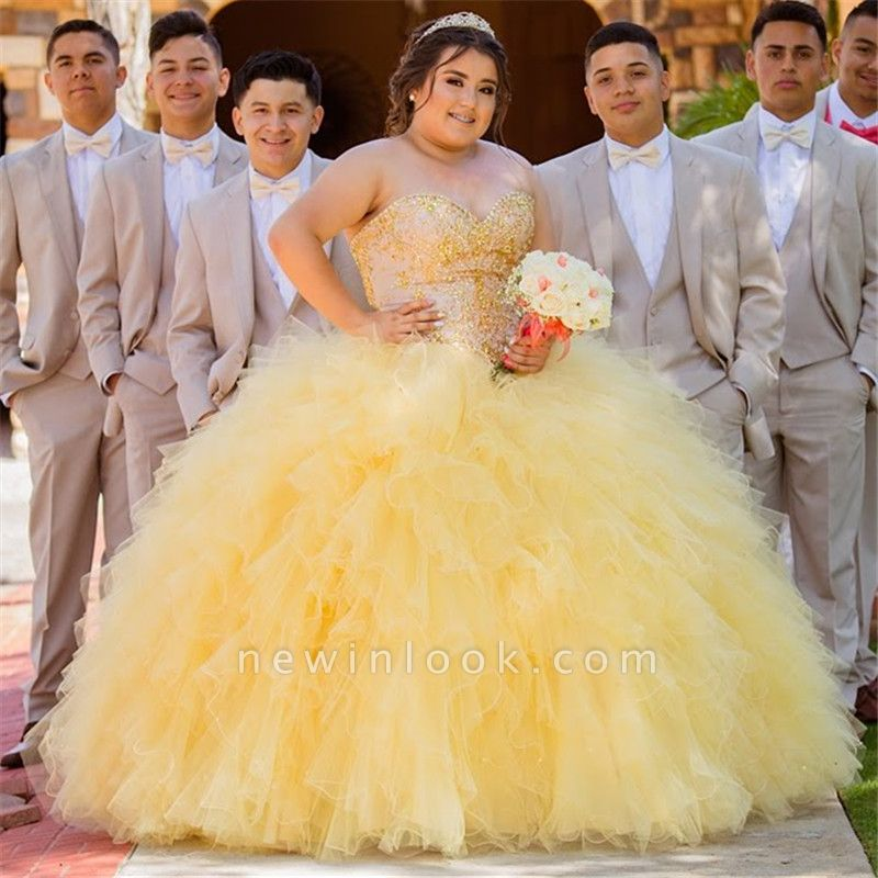 Wonderful Yellow Sweetheart Beadings Ball Gown 15 Dresses | Sleeveless Ruffles Quinceanera Dresses Long