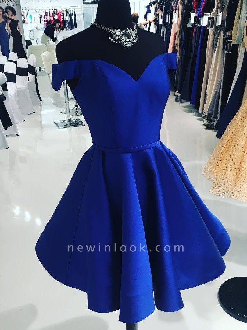 Simple Off-the-Shoulder Sexy V-Neck Dama Dress