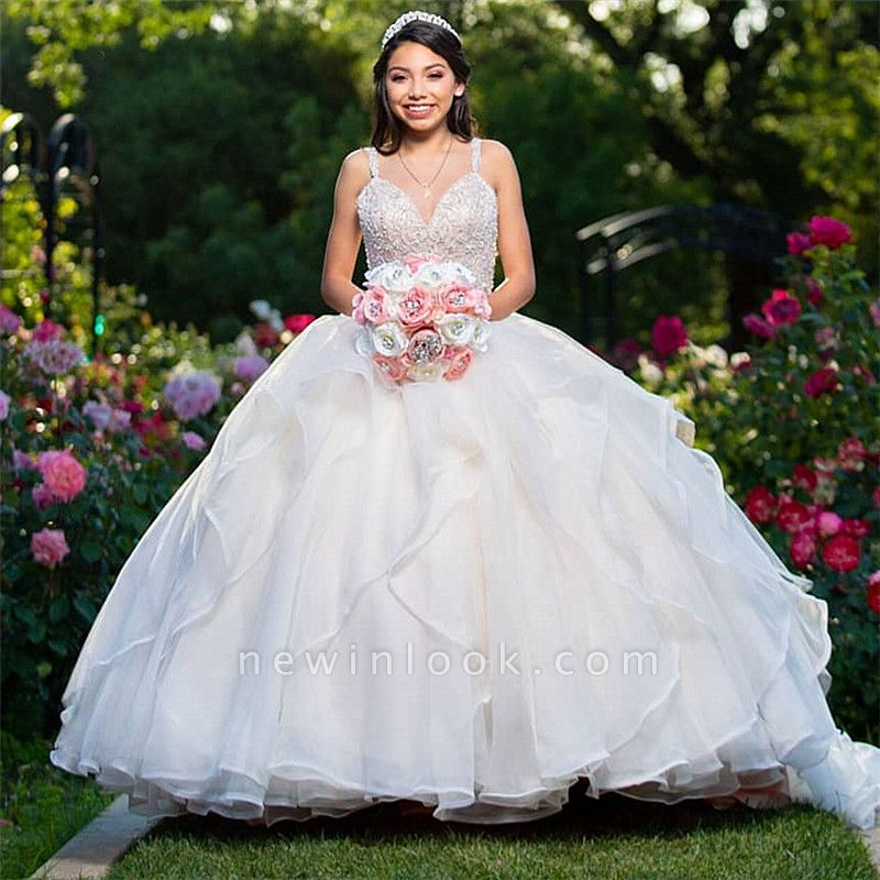Wonderful Sweetheart V-neck Beadings Ball Gown 15 Dresses | Spaghetti Straps Quinceanera Dresses Long