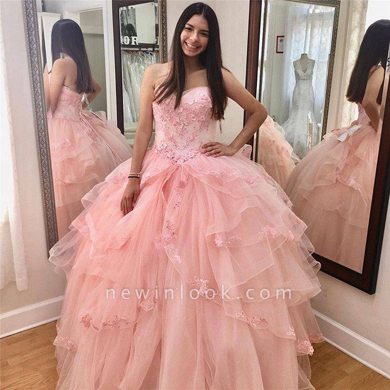 Fascinating Sweetheart Appliques Ball Gown Quinceanera Dresses | Layered 15 Dresses Long