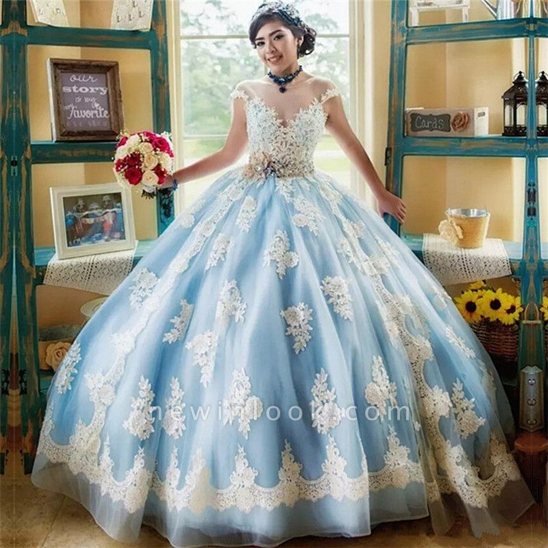 Marvelous Illusion Jewel Capsleeves Ball Gown Sweet 16 Dresses | Appliques Quinceanera Dresses Long