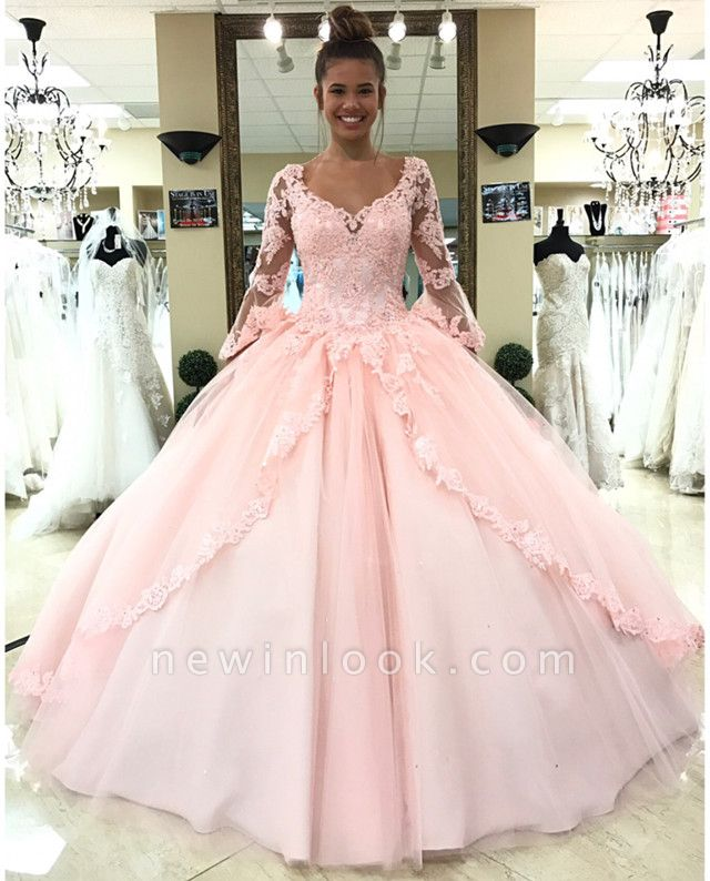 Fascinating Pink V-neck Appliques Ball Gown Quinceanera Dresses | Long-Sleeves 15 Dresses Long