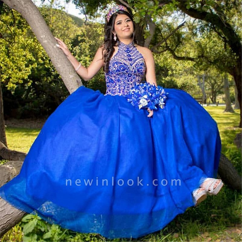 Wonderful Royal Blue High-neck Appliques Ball Gown 15 Dresses | Sleeveless Quinceanera Dresses Long